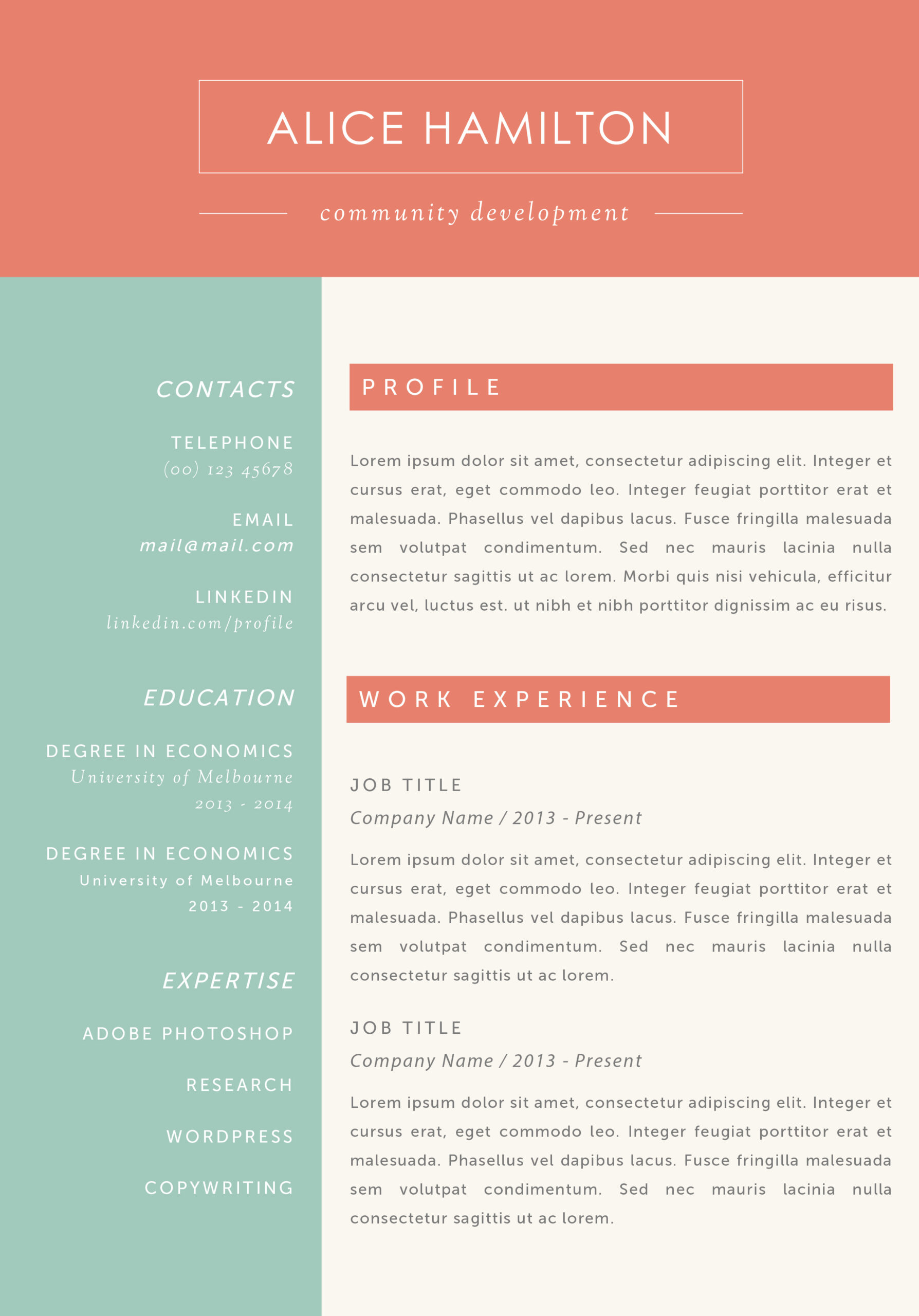 the alice resume melbourne template retail layout openstack administrator personal Resume Melbourne Resume Template