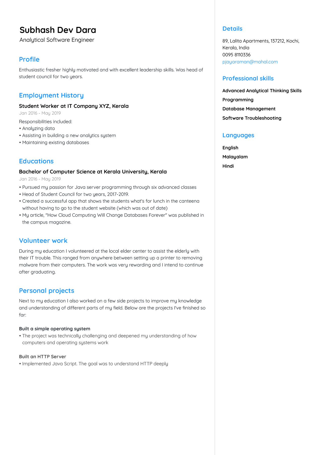 the best cv format for freshers examples jofibo basic resume analytical software engineer Resume Basic Resume Format For Freshers