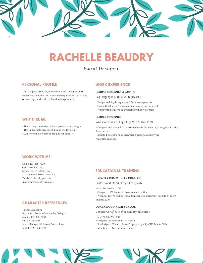 the best font for your resume according to experts canva suggestions colorful floral job Resume Resume Font Suggestions