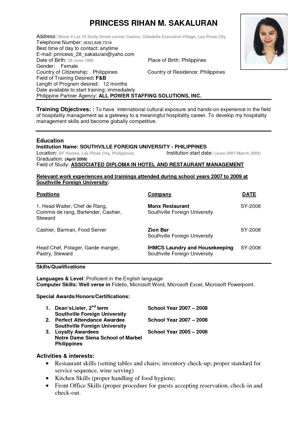 the most example of resume format template best job sample objective for cruise ship good Resume Resume Objective For Cruise Ship