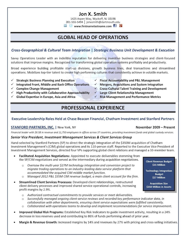 the top executive resume examples written by professional recruiter for director position Resume Resume Examples For Director Position