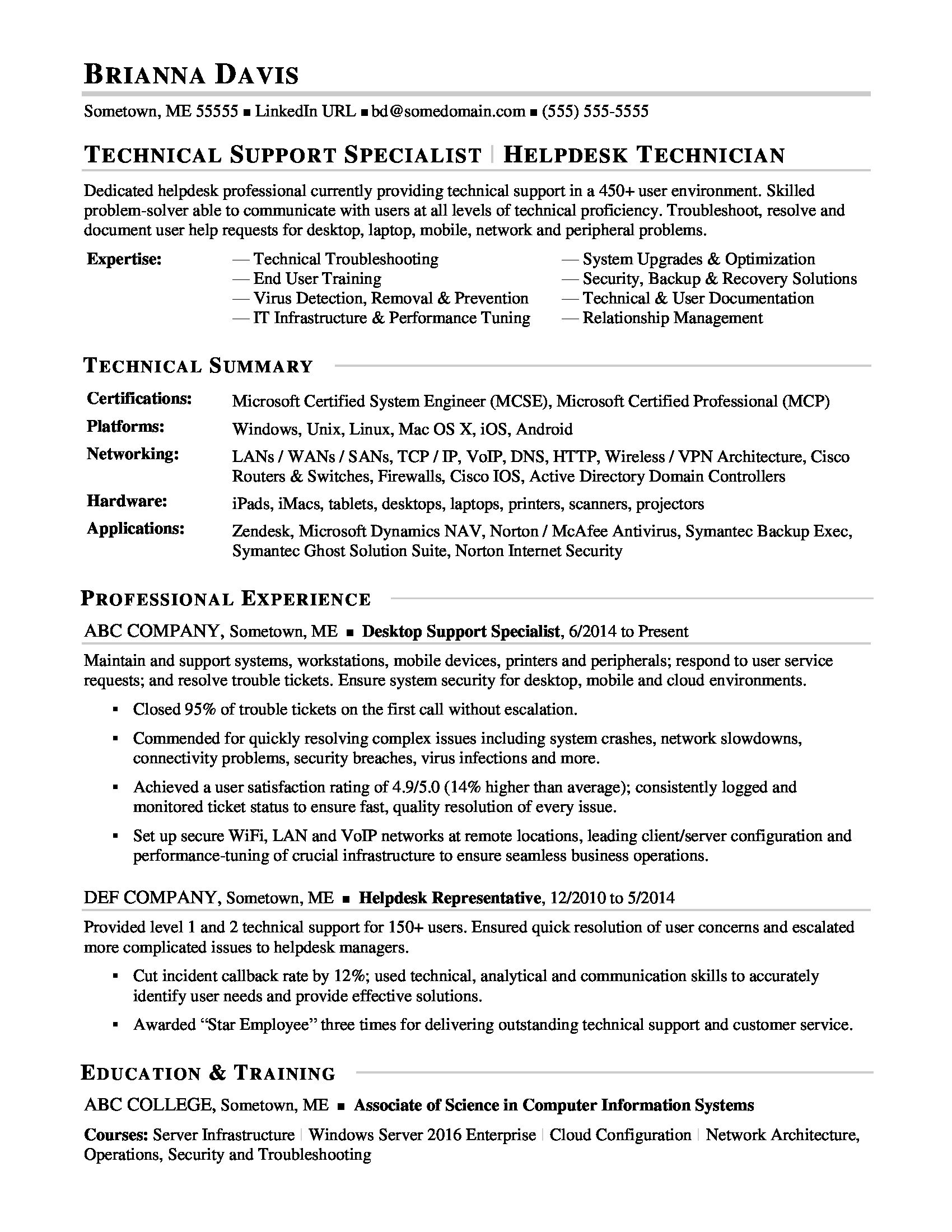 this sample resume for an experienced it help desk professional shows you can portray Resume Technical Support Summary Resume