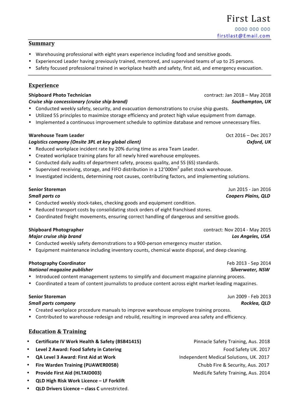 thought it was good but lack of callbacks suggests otherwise any changes warehouse resume Resume Warehouse Duties Resume