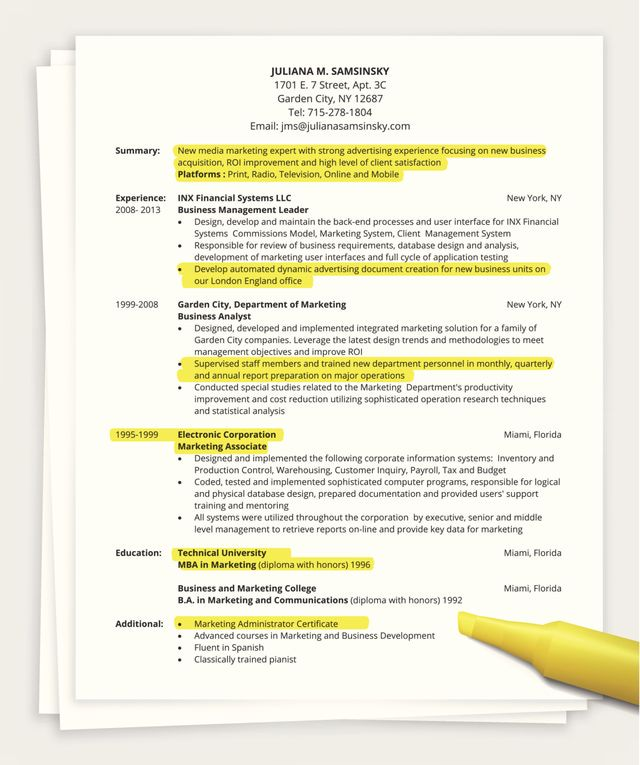 to include in resume summary statement one basic best format examples skills for pilot Resume One Page Summary Resume