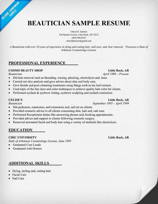 to write customer service resume or retail examples objective sample for beautician job Resume Resume Sample For Beautician Job