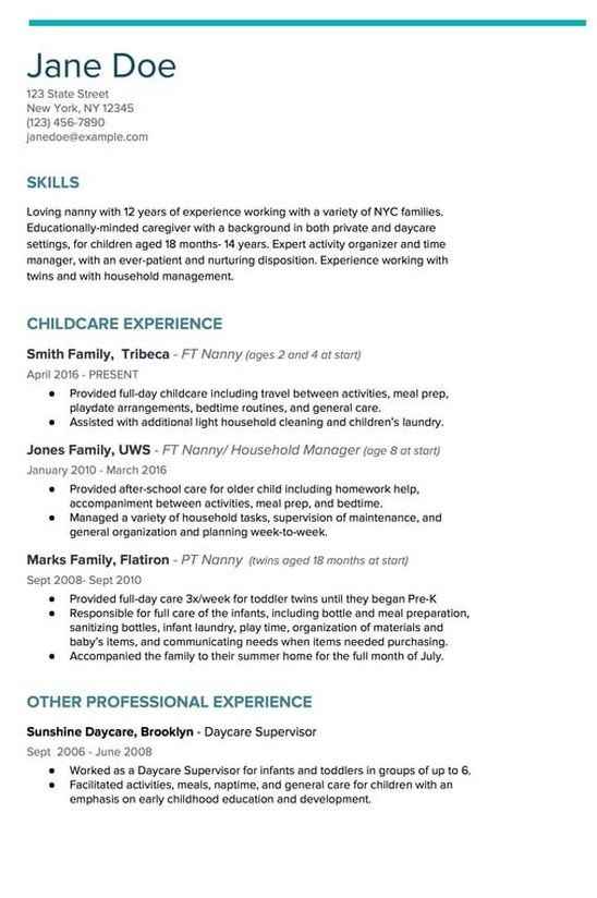 to write nanny resume like champ kith kin agency new city and household staffing Resume Description For Nanny On Resume