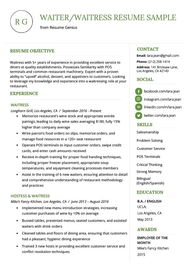 to write resume profile examples writing guide rg on waiter waitress sample template for Resume Writing Profile On Resume