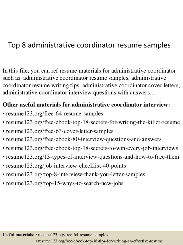 top administrative coordinator resume samples with header aws linux administrator donor Resume Administrative Coordinator Resume