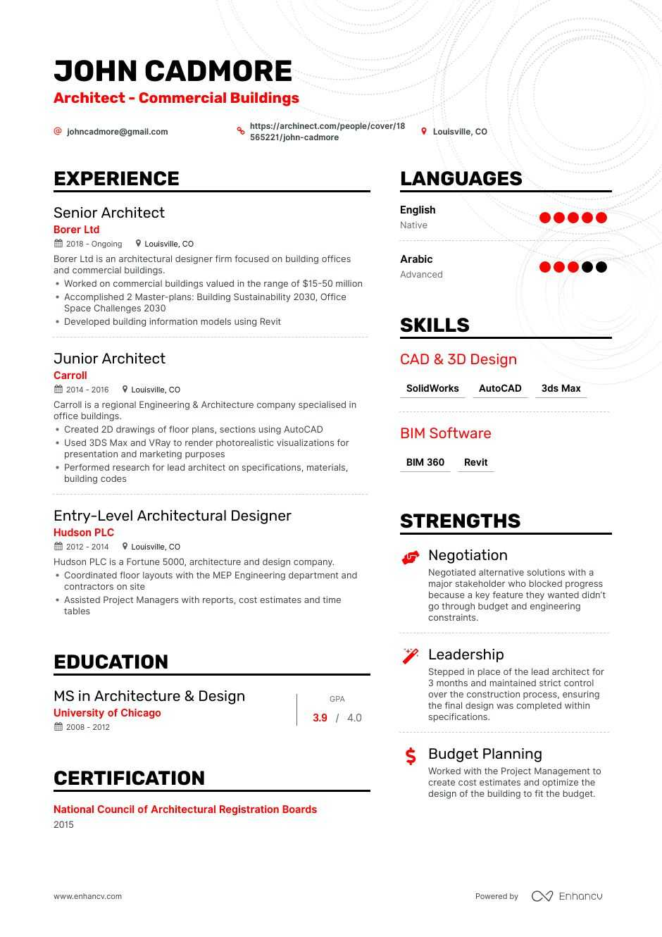 top architect resume examples samples for enhancv principal sre example housing inspector Resume Principal Architect Resume
