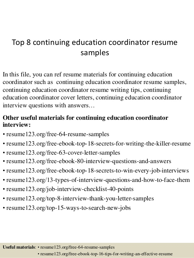 top continuing education coordinator resume samples on front desk receptionist examples Resume Continuing Education On Resume