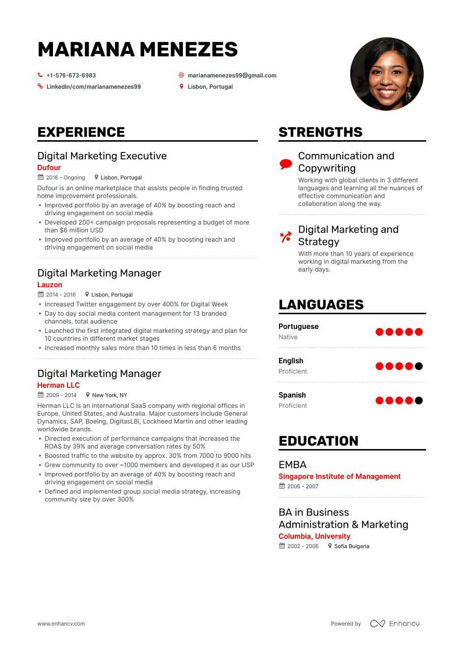 top digital marketing executive resume examples expert tips enhancv manager web developer Resume Marketing Manager Resume