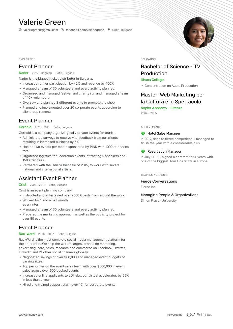 top event planner resume examples samples for enhancv wedding biology degree example good Resume Wedding Event Planner Resume