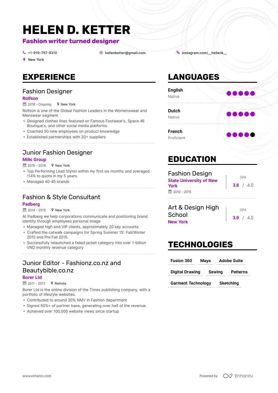 top fashion designer resume examples expert tips enhancv creative for post office Resume Creative Resume For Fashion Designer