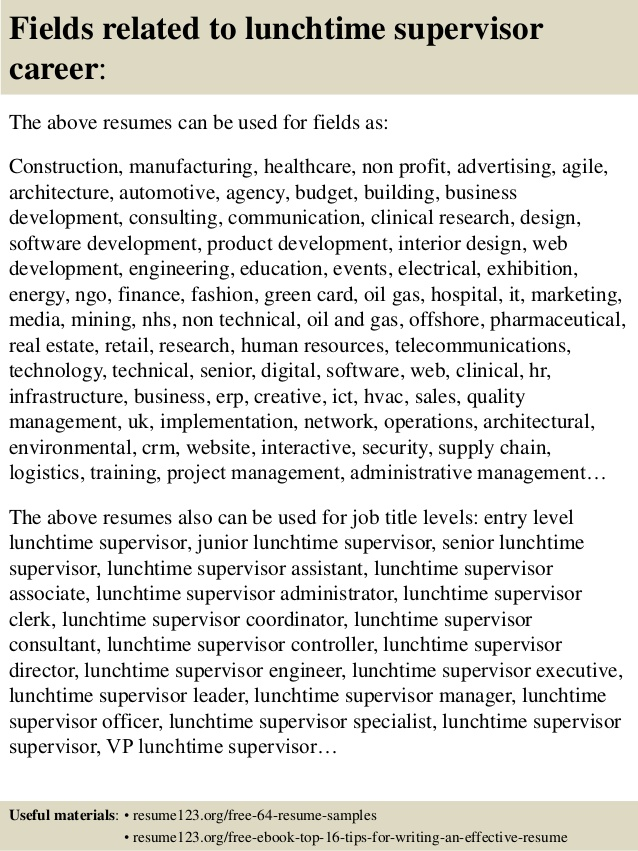 top lunchtime supervisor resume samples lunch sample metallurgical engineer follow up Resume Lunch Supervisor Resume Sample