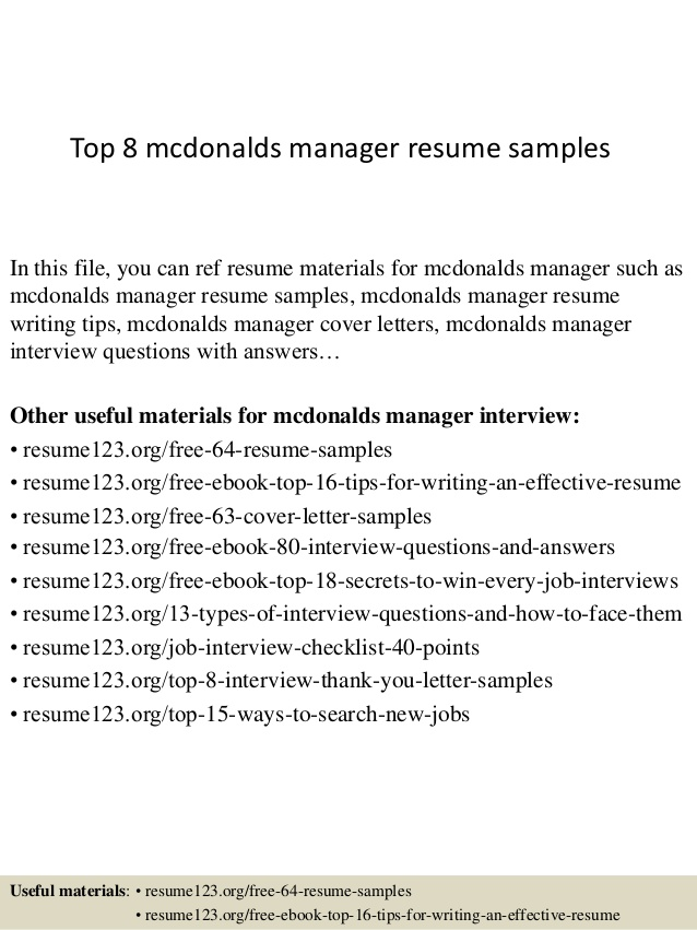 top mcdonalds manager resume samples job description for skill set template attach on Resume Mcdonalds Manager Job Description For Resume