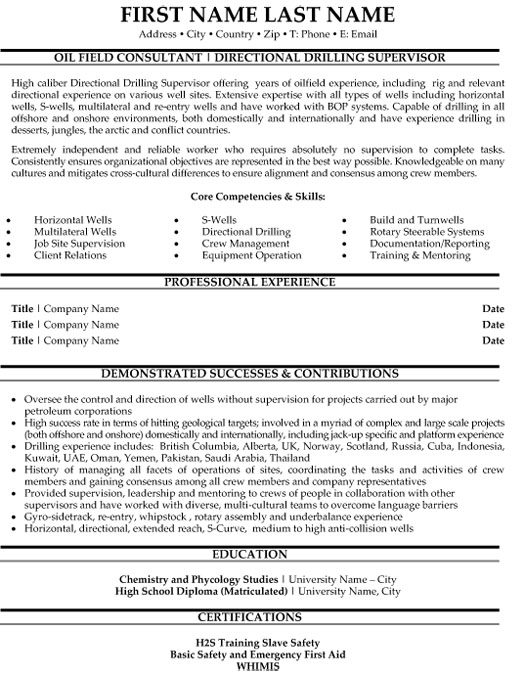top oil gas resume templates samples and examples og directional drilling supervisor Resume Oil And Gas Resume Examples