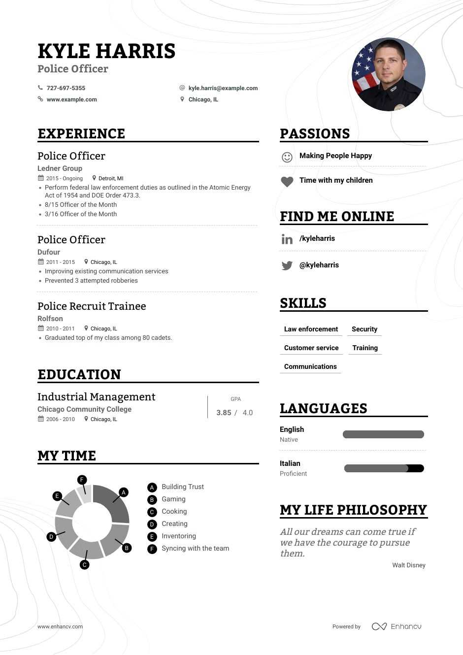 top police officer resume examples expert tips enhancv example of for sun idm services Resume Example Of Resume For Police Officer