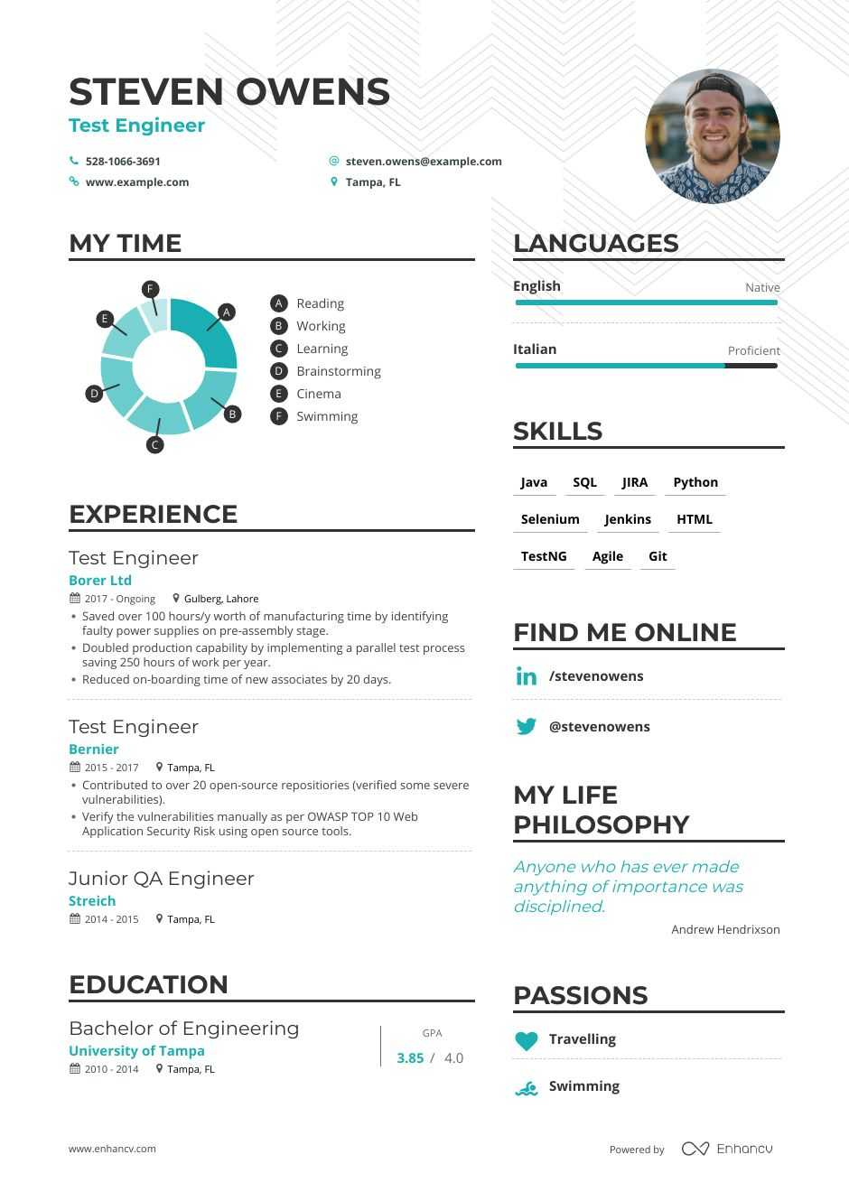 top test engineer resume examples expert tips enhancv automation template format for Resume Automation Engineer Resume Template
