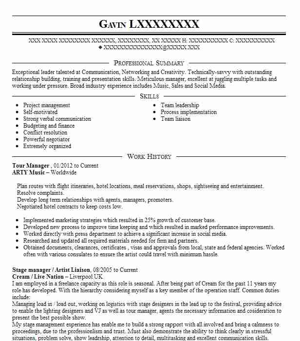 tour manager resume example travel and tourism resumes livecareer examples chicago Resume Travel And Tourism Resume Examples