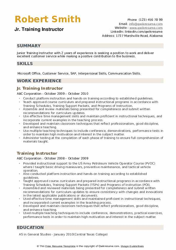 training instructor resume samples qwikresume sample pdf action verbs for writing synonym Resume Training Instructor Resume Sample