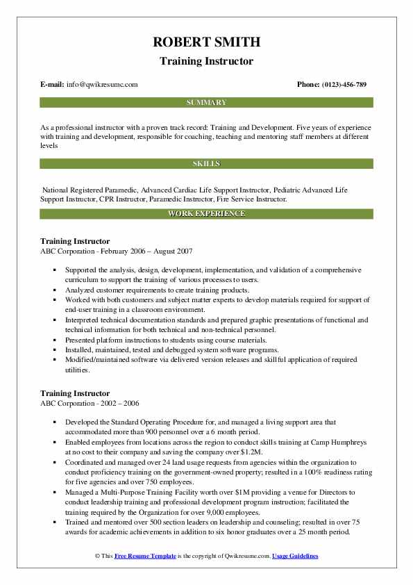 training instructor resume samples qwikresume sample pdf auto fill templates safety itil Resume Training Instructor Resume Sample