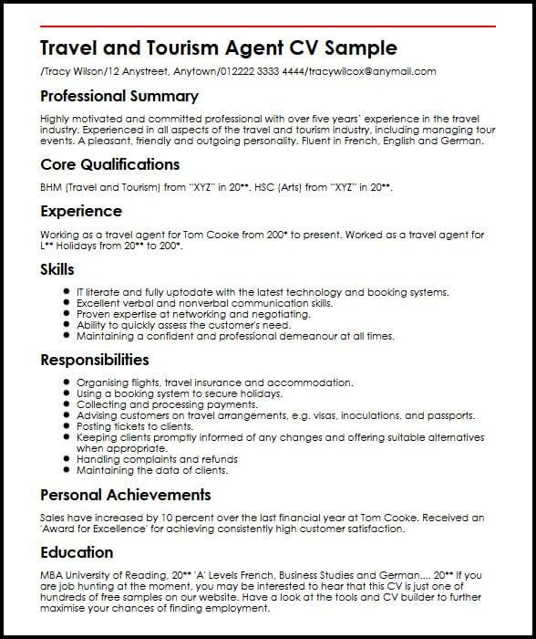 travel agent cv sample myperfectcv awesome tourism student resume objectives it is in and Resume Travel And Tourism Resume Examples