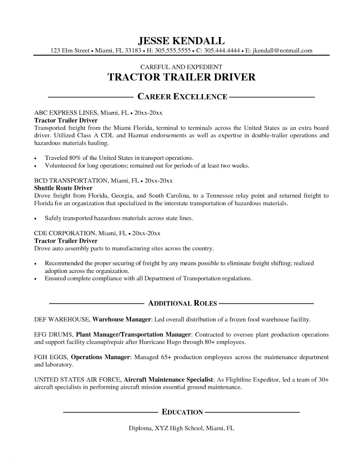 truck driver resume objective templates lebenslauf vorlage driving examples housekeeping Resume Truck Driving Resume Objective Examples