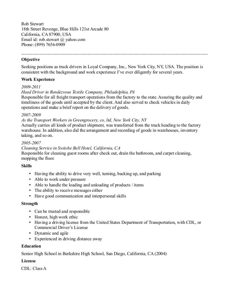 truck driving resume template free templates examples objective housekeeping duties and Resume Truck Driving Resume Objective Examples