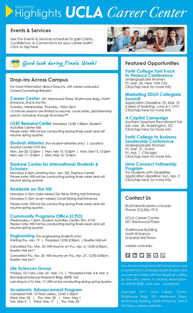 ucla career center on featured opportunities in the upcoming highlights newsletter from Resume Ucla Career Center Resume