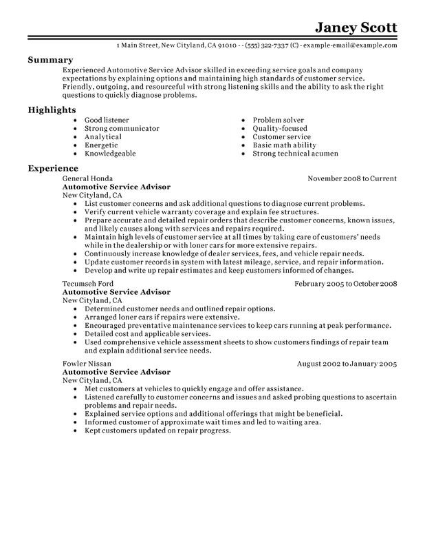 unforgettable automotive customer service advisor resume examples to stand out Resume Job Profile Sample For Resume