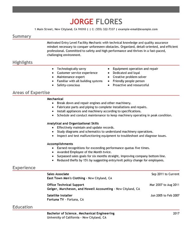 unforgettable entry level mechanic resume examples to stand out myperfectresume template Resume Entry Level Resume Template