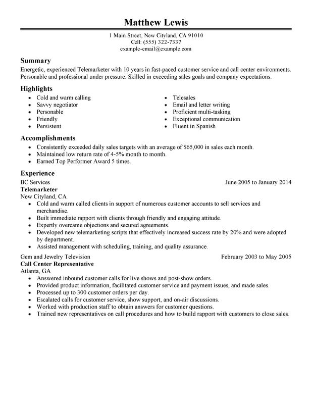 unforgettable experienced telemarketer resume examples to stand out myperfectresume Resume Telemarketing Responsibilities Resume