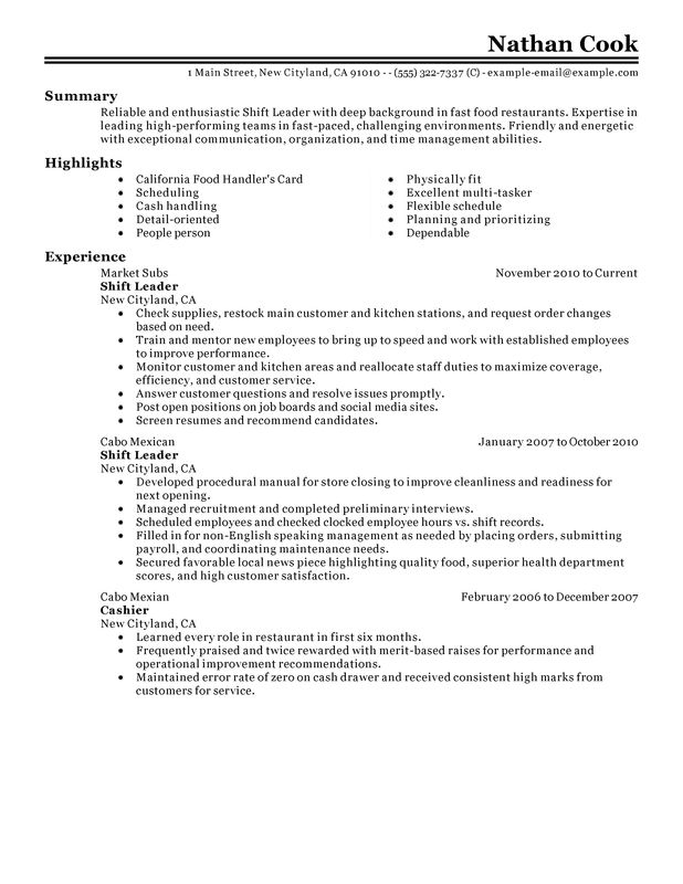 unforgettable restaurant shift leader resume examples to stand out myperfectresume retail Resume Retail Shift Leader Resume