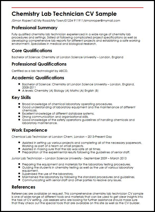use the chemistry lab technician cv example to start yours laboratory skills resume Resume Laboratory Skills Resume