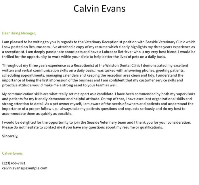 veterinary receptionist cover letter examples samples templates resume vet sample college Resume Vet Receptionist Resume Sample