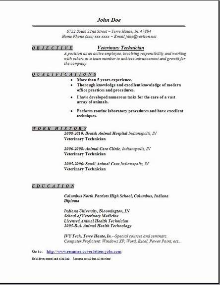 veterinary technician resume occupational examples samples free edit with word Resume Veterinary Technician Resume