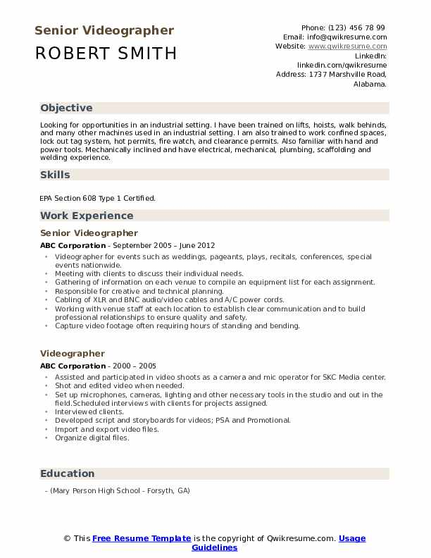 videographer resume samples qwikresume job description pdf first time official example Resume Videographer Job Description Resume