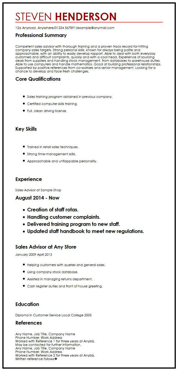 view our advisor cv example and get hired myperfectcv template for references resume with Resume Template For References For Resume