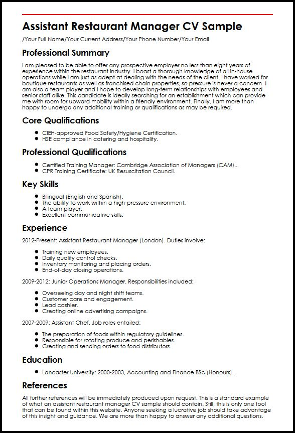 view our assistant restaurant manager cv example myperfectcv job resume sample best font Resume Restaurant Manager Job Resume