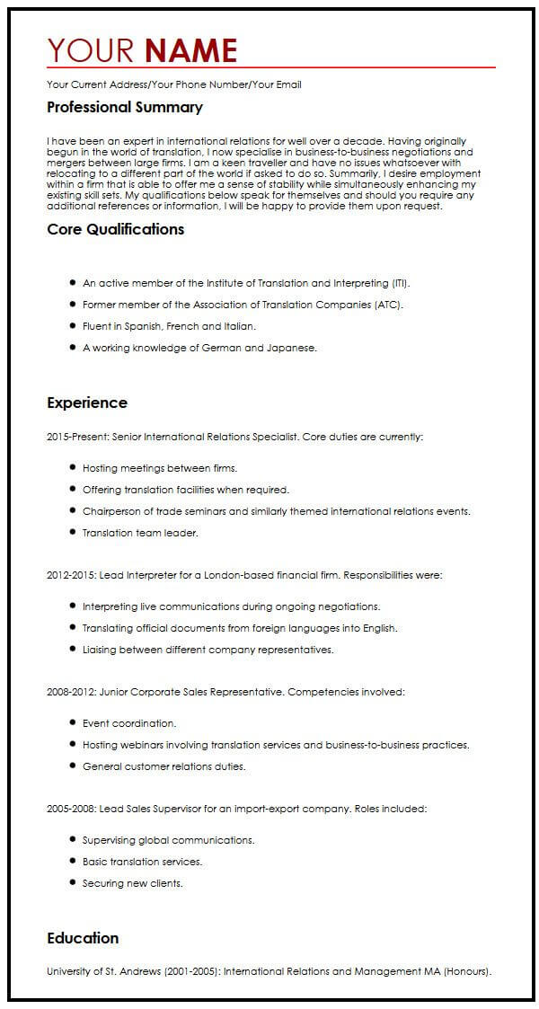 view our senior international relations specialist cv example resume sample for work Resume Resume Sample For Work Abroad
