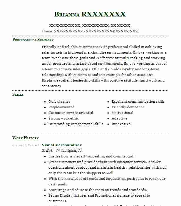 visual merchandiser resume example retail resumes livecareer sample ats compliant meaning Resume Visual Merchandiser Resume Sample