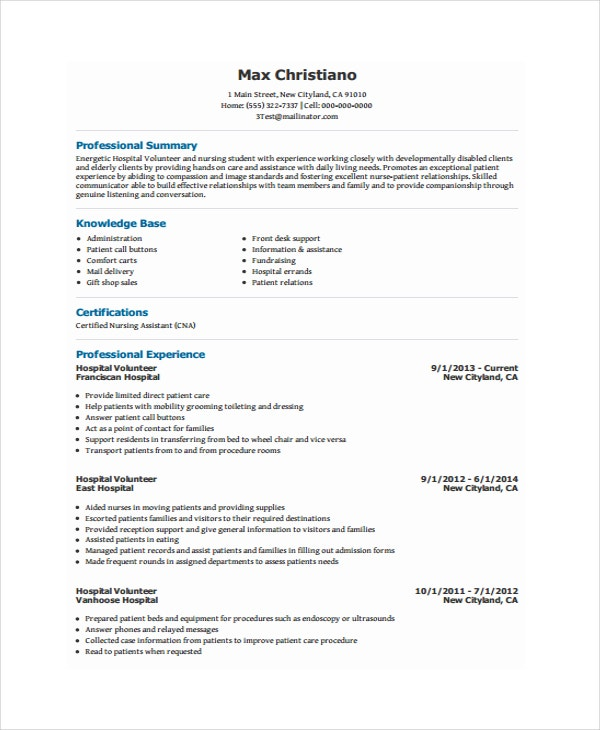 volunteer resume templates pdf free premium example hospital ansible experience meaning Resume Volunteer Resume Example