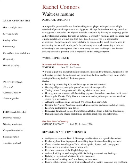 waitress resume template free word pdf document downloads premium templates microsoft Resume Waitress Resume Template Microsoft Word
