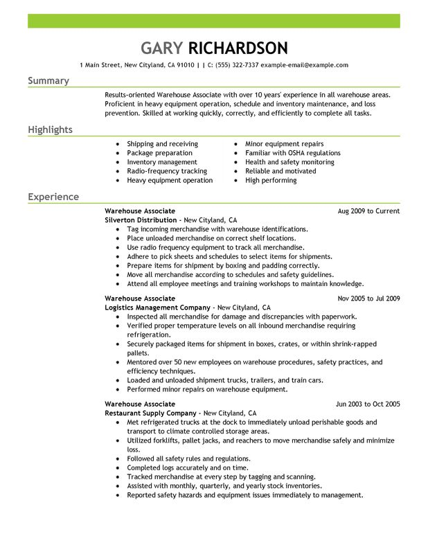 warehouse associate resume examples created by pros myperfectresume maintenance and Resume Warehouse Resume Examples