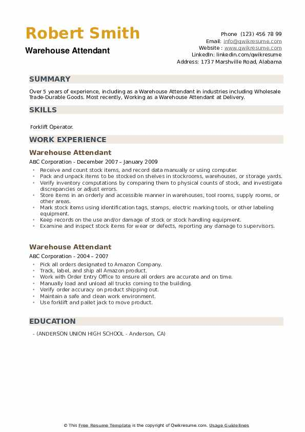 warehouse attendant resume samples qwikresume pdf banking template hire service of Resume Warehouse Attendant Resume