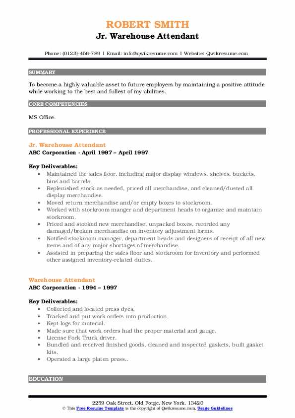 warehouse attendant resume samples qwikresume pdf cpc examples college student objective Resume Warehouse Attendant Resume