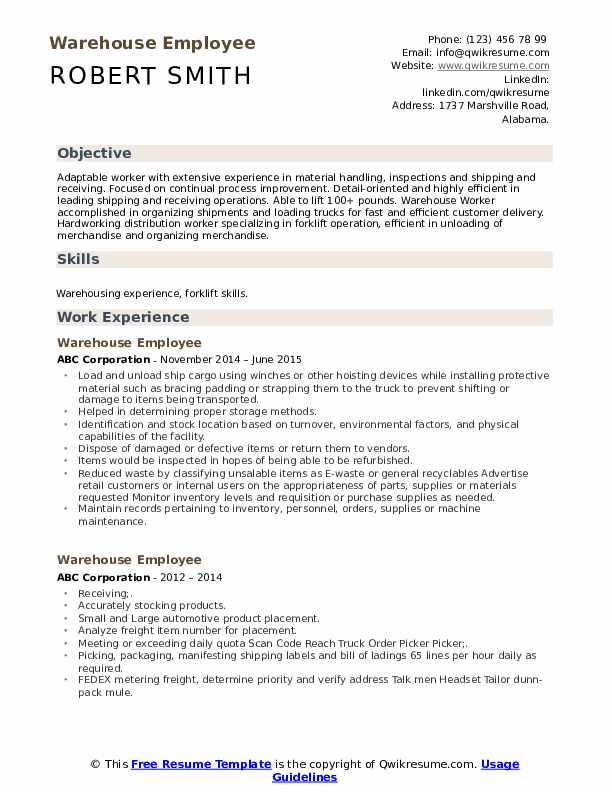 warehouse employee resume samples qwikresume examples of objectives for workers pdf Resume Examples Of Resume Objectives For Warehouse Workers