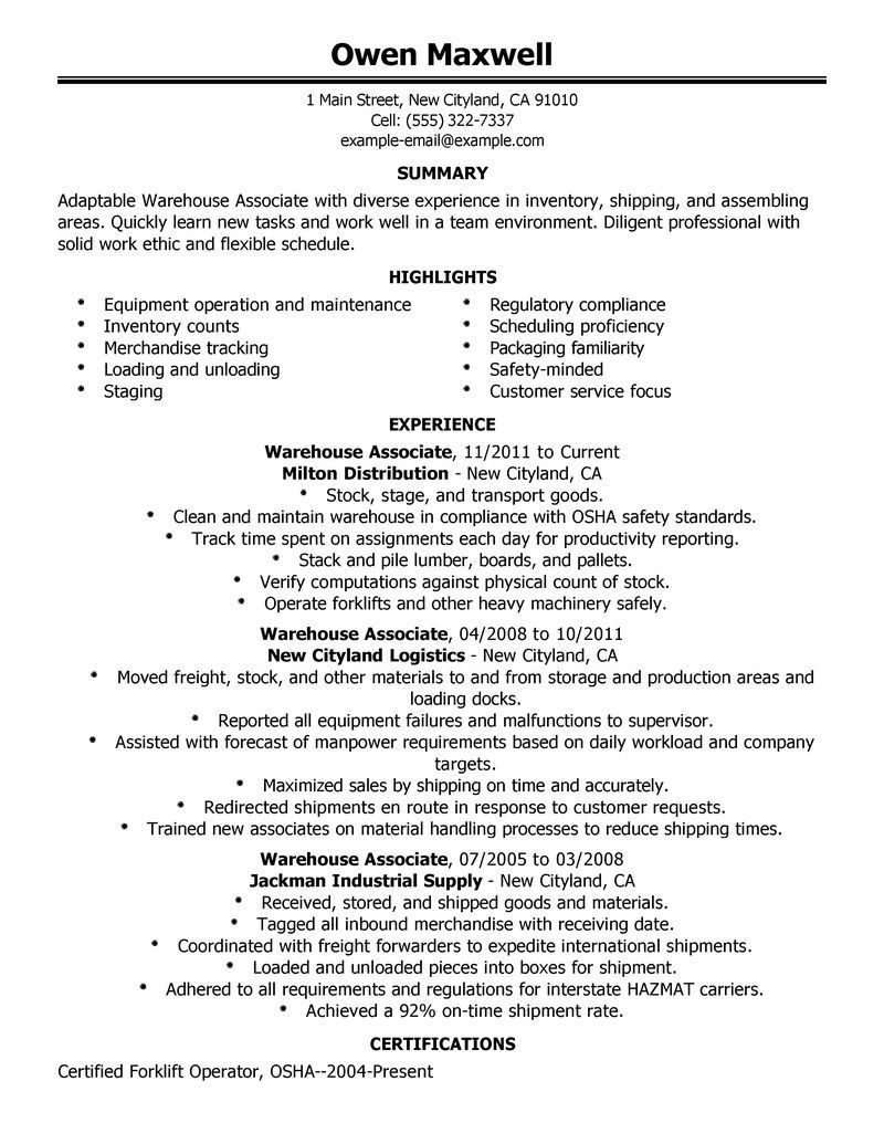 warehouse resume objective samples for worker executive summary template examples sample Resume Warehouse Resume Objective