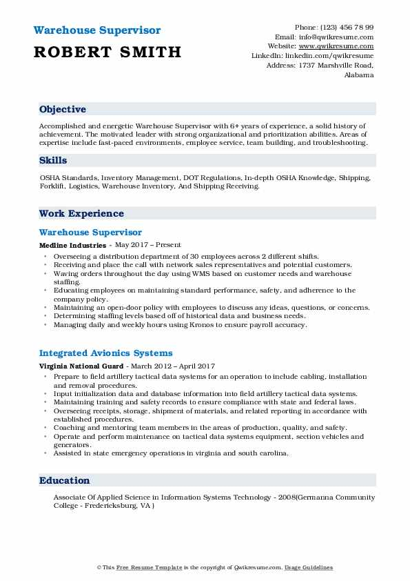 warehouse supervisor resume samples qwikresume examples of objectives for workers pdf noc Resume Examples Of Resume Objectives For Warehouse Workers