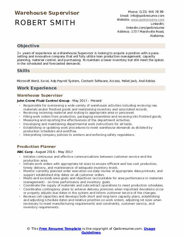 warehouse supervisor resume samples qwikresume objective pdf participate synonym patient Resume Warehouse Resume Objective